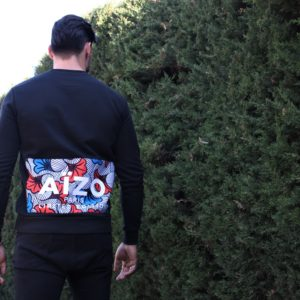 Sweat noir AÏZO PARIS Flowers print
