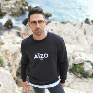 Sweat noir Wax au dos AIZO PARIS